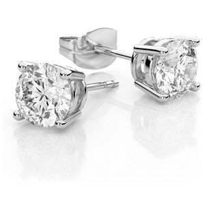 Jewelry - CZ Diamond Stud Solitaire Earrings Sterling Silver